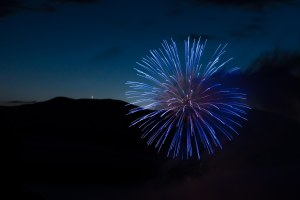 Fireworks with Venus setting behind Hunger Mtn